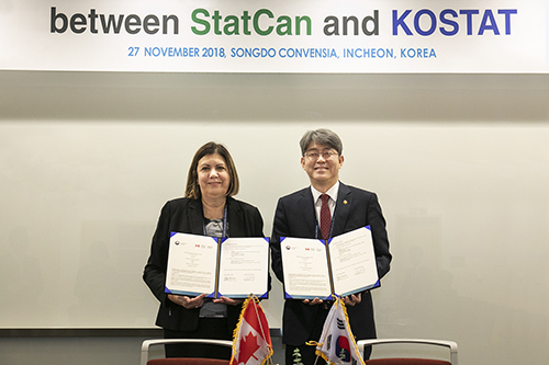 Mr.KANG Shinwook, Commissioner of Statistics Korea, Ms.Jane Badets, Assistant Chief Statistician of Canada