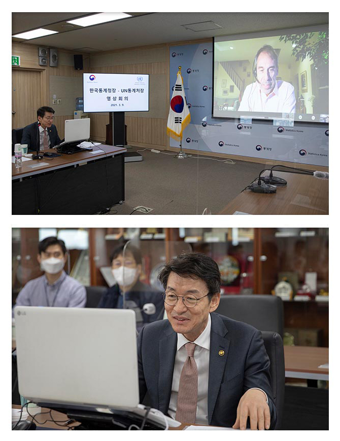 The commissioner Keunkwan Ryu had a bilateral meeting with the Director of UN Statistical Division